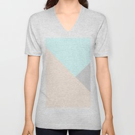 Pastel blue gray color block triangles geometrical Unisex V-Neck