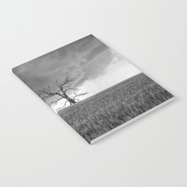 Blowing in the Wind - Black and White Windmill and Dead Tree with Storm in Oklahoma Notebook