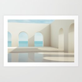 Scene with geometrical forms, arch with a podium in natural day light. Art Print