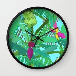 Banana Jungle in Blue Wall Clock