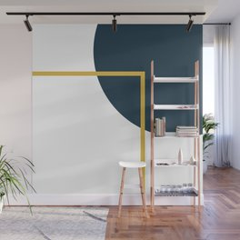 Fusion Minimalist Geometric Abstract in Mustard Yellow, Navy Blue, and White Wall Mural
