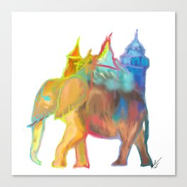 Elephant Carrying the Castle Canvas Print