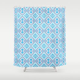 Blue embroidery pattern Shower Curtain
