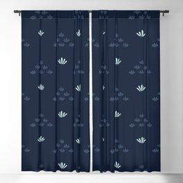 Indigo blue stylized flower grass pattern. Blackout Curtain