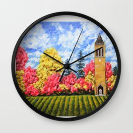 Campanile At Iowa State University by Mike Kraus - ames art landscape autumn fall golden loop school Wall Clock