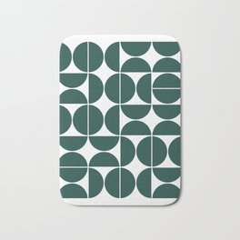 Mid Century Modern Geometric 04 Dark Green Bath Mat