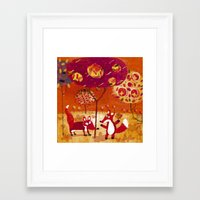 foxes Framed Art Prints featuring foxes  by Marianna Jagoda