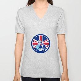 British Auto Mechanic Union Jack Flag Icon Unisex V-Neck