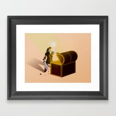 Link opening a chest Framed Art Print