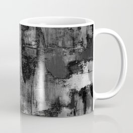 Crackled Gray - Black, white and gray, grey textured abstract Coffee Mug