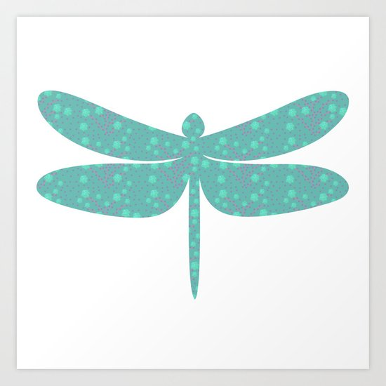 pattern with dragonfly Art Print