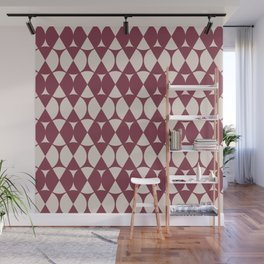 Classic Wheel and Diamond Futurist Pattern 216 Burgundy and Beige Wall Mural