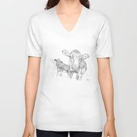 cows V-neck T-shirts featuring Cows by George Terry