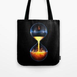 Old flame / 3D render of hourglass flowing liquid fire Tote Bag