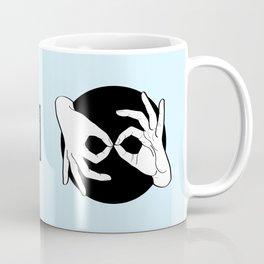 Sign Language (ASL) Interpreter – White on Black 03 Coffee Mug