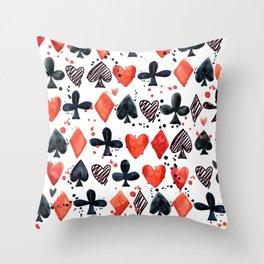 Casino poker watercolor illustration Throw Pillow