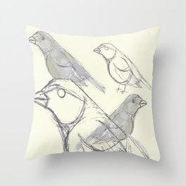 Bird Sketch Finch Graphic Throw Pillow