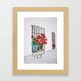 Geraniums in Window Watercolor Framed Art Print