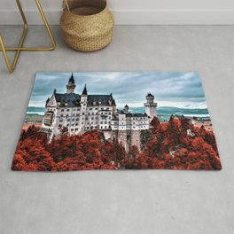 The Castle of Mad King Ludwig in the Autumn, Neuschwanstein Castle, Bavaria, Germany Rug