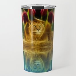 Lion and flowers Travel Mug