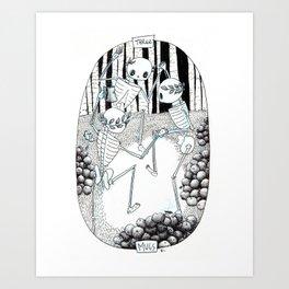 Three of Cups Skeleton Tarot Art Print