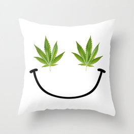 Weed Smile Throw Pillow