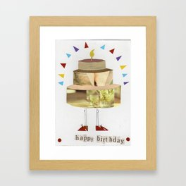 Jovial Birthday Cake Framed Art Print