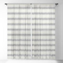Rustic, Farmhouse, Ticking Striped Pattern Sheer Curtain