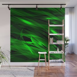 Saturated green and smooth sparkling lines of grass tapes on the theme of space and abstraction. Wall Mural