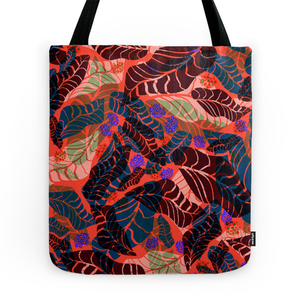Red Tropical Tote Purse by anastasia_buchinskaya (TBG7768814) photo