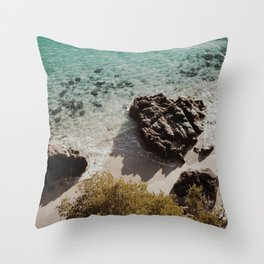 Clear water in a lonely beach Throw Pillow