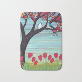 tree swallows in the stained glass tree with tulips and frogs Bath Mat