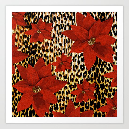Animal Print Leopard and Red Poinsettia by saundramyles