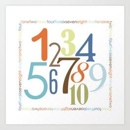 Numbers Square - Safari colorway Art Print