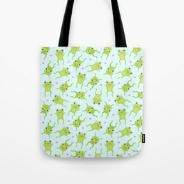 Kawaii Happy Frogs on Blue Tote Bag