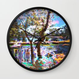 Trees Pond and Light Streams Wall Clock