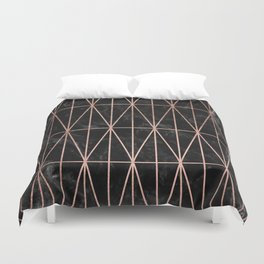 Modern geometric triangles faux rose gold pattern on black marble Duvet Cover