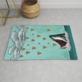 Pizza Shark Print Rug