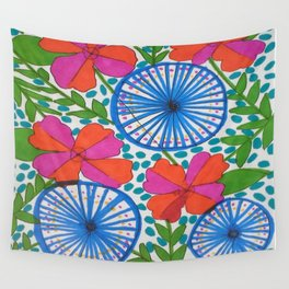 Flowers and Pinwheels Jungle Print Wall Tapestry