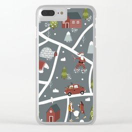 Illustrated Christmas Map Cozy Nordic Style Clear iPhone Case