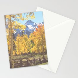 Aspen color peaking below the snow-capped San Juan Mountains Stationery Cards