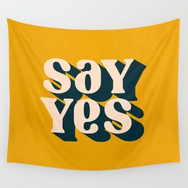 Say Yes Retro Typography on Yellow Wall Tapestry