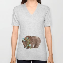 Bear with flower boa Unisex V-Neck