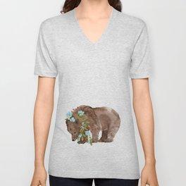Bear with flower boa Unisex V-Neck