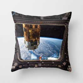 Space Station Window Overlooking Planet Earth Throw Pillow