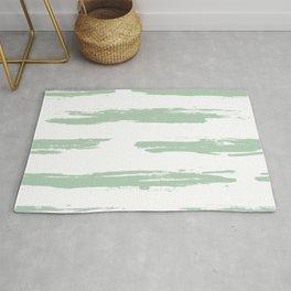 Swipe Stripe Pastel Cactus Green and White Rug