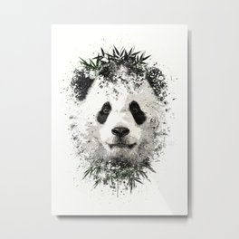 Panda with bamboo Metal Print