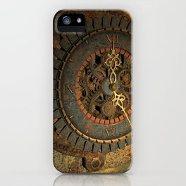 Steampunk, awesome clock, rusty metal iPhone Case