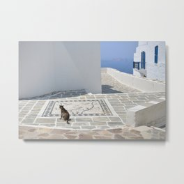Cat and Mosaic - Milos - Landscape and Rural Art Photography Metal Print