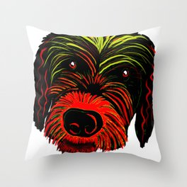 Colorful Scruffy Dog Throw Pillow